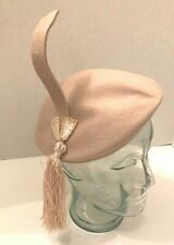 Vintage 1940s 1950s New Look beret style hat with dramatic tassel and trim
