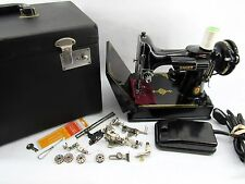 Vintage Singer Featherweight Sewing Machine w/Scrolled Plate Case & Accessories