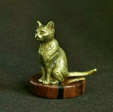 Art Deco Bronze Animals Cat Egyptian cat Statuette Figurine With Obsidian Stand
