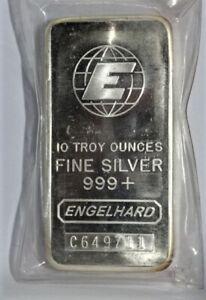 ONE 10 TR. OZ SILVER BAR ENGELHARD 999+ FINE SILVER SN # C649711