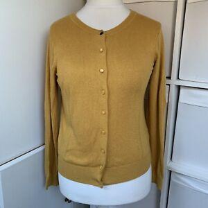 Joules Mustard Yellow Poynter Cardigan Size 12 Cashmere & Angora Blend Fine Knit