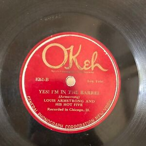 HOT JAZZ Louis Armstrong HOT 5 Okeh 8261 Yes In the Barrel/Gut Bucket Blues V+