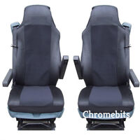 2/PAIR BLACK FABRIC TAILORED SEAT COVERS FOR DAF TRUCKS XF95 XF105 XF 105 95 LF