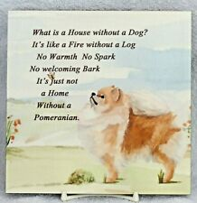 POMERANIAN DOG GLOSSY HARDBOARD PLAQUE TILE SANDRA COEN ARTIST WATERCOLOURPRINT