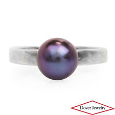 Estate Purple Tahitian Pearl Sterling Silver Solitaire Ring NR