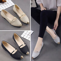 Vintage Women Pointed Toe Bling Leather Single Shoes Casual Low Heel Flat Shoes