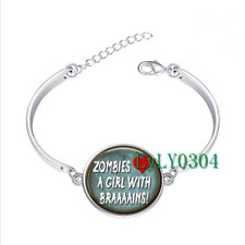Zombies Love a Girl glass cabochon Tibet silver bangle bracelets wholesale