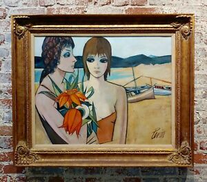 Charles Levier - Women at the Beach -Oil painting -c1960s