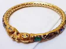 "Antique Chinese Gold Colored Silver Enamel Bangle, 2.65"" Inside Diameter"