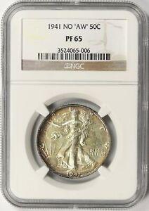 "1941 No ""AW"" Walking Liberty Silver Half Dollar 50c NGC PF65"
