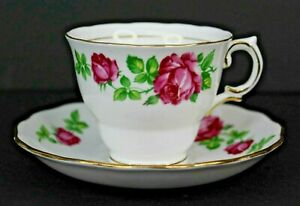 Vintage Colclough Pink Roses With Gold Trim Teacup and Saucer #6634 England