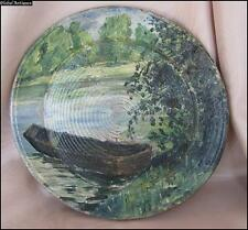 19C. ORIGINAL ANTIQUE OVAL OIL PAINTING ON WOODEN PLATE BASE