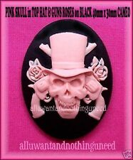 2 GOTH PUNK PIRATE HALLOWEEN PINK SKULL in HAT w/ GUNS/ROSES 40mm x 30mm CAMEOS