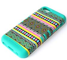 iPhone 5C - HARD & SOFT RUBBER HYBRID HIGH IMPACT CASE TURQUOISE GREEN AZTEC
