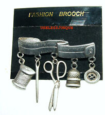 SEAMSTRESS PEWTER BROOCH PIN WITH HANGING CHARMS