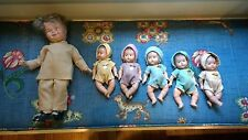 Antique Dionne Quintuplets Dr. Dafoe Composition Dolls w/ Original Outfits 1930s