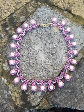 """Necklace Handmade beaded 16"""" pink seed beads white pearls"""