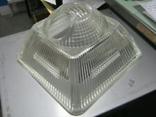Vintage Holophane Square Industrial Glass Lamp Shade 9.5x9.5