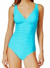 14586 Swim Solutions Womens Turquoise Blue Ruched Waist 1 Piece Swimsuit 18 $89
