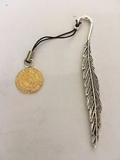 Elizabeth I Quarter Angel Coin WC51 Gold English Pewter On A FEATHER Bookmark