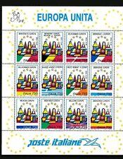 FOGLIO 12 FRANCOBOLLI ITALIA DA 750 LIRE NUOVO 1993 EUROPA UNITA MNH