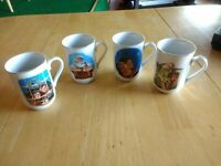 1987 Norman Rockwell Coffee Cups Mugs Museum Collections Inc Lot of 4. Christmas