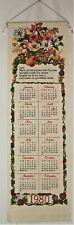 Vintage 1980 Linen Cloth Fabric Tea Towel Wall Calendar Kitchen Prayer Religious