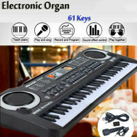 Musical Keyboard 61 Keys Adult Kid Electric Digital Piano Organ w/ Mic & Adapter