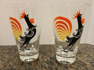 Pair Of Vintage Mid-Century Drinking Glass Tumblers Crowing Rooster Bright Color