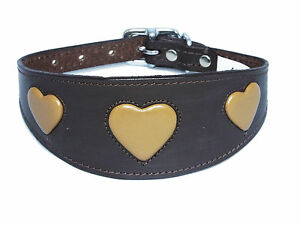 Leather Afghan, Saluki Dog Collar Brown With Tan Heart Whippet greyhound collar