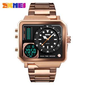SKMEI Men Digital Quartz Watch Luxury Gold Watches Male LED Alarm Wristwatches