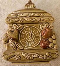 Vintage marked JAPAN Ceramic Clock Wall Mount Planter GREEN