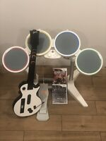 Wii Rock Band Bundle Wired Drums, Pedal & Wireless Les Paul Guitar + 2 Games