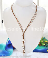 Genuine Brown Leather 9-10mm White Freshwater Pearl Necklace 21'' Long