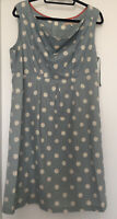 Tom Joules Adele Powder Blue Linen Spot Dress Size 18