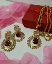 Topaz Stunning Necklace and Earring Set, Gold tone