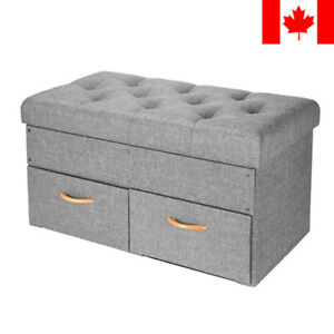 Sortwise® Folding Storage Ottoman with Two Drawers Foot Rest Stool Grey