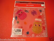 New ! Merry Christmas Glass Window Gel Clings or Mirrors Decoration owl