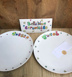 Hand painted Personalised Dinner Plates With Patterned Rim. Customised