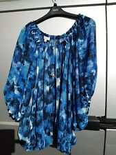 MONSOON BLUE,BLACK BATWING GYPSY TOP LARGE