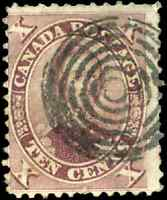 Canada #17 used F 1859 First Cents 10c red lilac HRH Prince Albert CV$80.00
