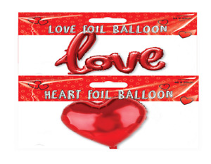 LOVE or HEART Red Coloured Foil Balloon Wedding Hen Birthday Party Air Helium