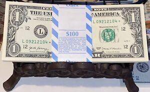 "10 CONSEC $1⭐️STAR NOTES⭐️ (VERY RARE) GEM UNCIR ""L"" SAN FRAN VERY FANCY SERIAL#"