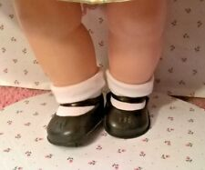 "BLACK VINYL MARY JANE SHOES (2 5/8""X1 5/8"") ANKLET SOCKS fit 20"" TINY TEARS DOLL"