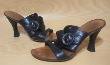 Kenneth Cole Mules 7.5 Heels Black Leather Slip On Womens Shoes