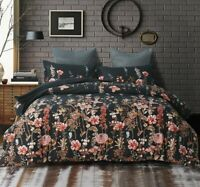 Bedding Sets Watercolor Flowers Comforter Set Pillows Case and Duvet Cover Black