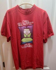 Vintage 2001 Invader Zim TV Show Nickelodeon Promo Shirt Sz M Slightly Damaged