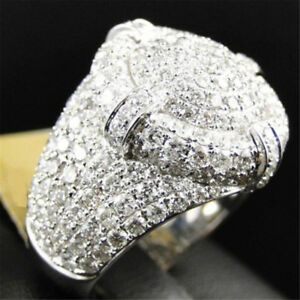 Fashion Bling Ring Clear Stones Hip Hop Silver Tone Chunky Mens Band Party Decor