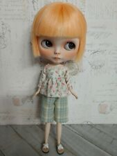 Handmade Blythe Doll Outfit-Plaid Green Pants and Floral Top