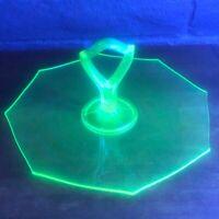 Vintage Octagon Vaseline/Uranium Glass Handled Platter Tray Glows in Black Light